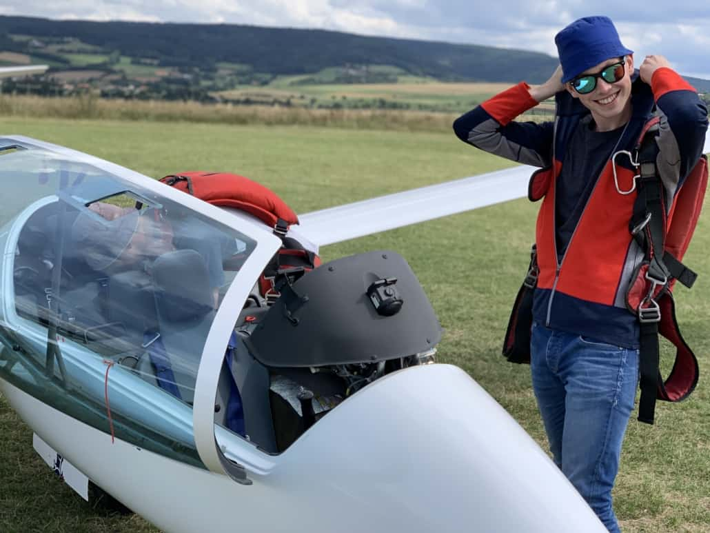 Leon vor einem Flug im Arcus